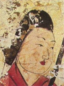 Visage féminin, paroi ouest, tumulus de Takamatsuzuka