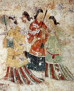 Peinture murale du tumulus de Takamatsuzuka, Azuka, Japon, 7e s. de notre ère.