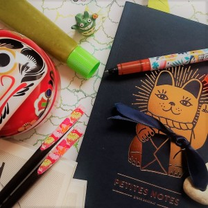 Carte de l'île de Manabé Shima, carnet à histoires et motifs japonais : ambiance pour écrire une nouvelle située sur l'archipel japonais